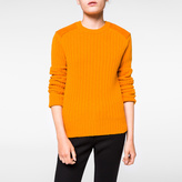 Paul Smith Women's Orange Shetland Wool Sweater With Suede Patches