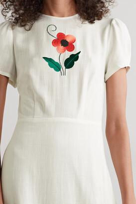 Rixo Aurelia Embroidered Voile Maxi Dress - White