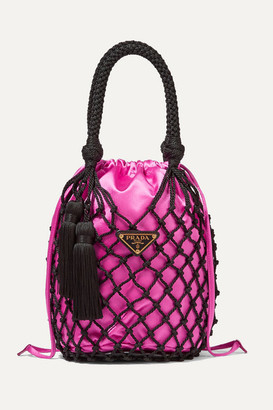 Prada String Small Tasseled Satin And Macrame Tote - Fuchsia