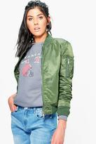 Boohoo Zoe Contrast Lining Bomber Jacket