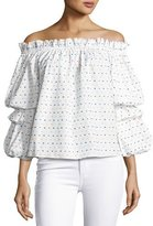 Caroline Constas Gia Off-the-Shoulder Swiss Dot Top, White