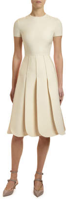 Valentino Short-Sleeve Crepe Couture Petal Dress