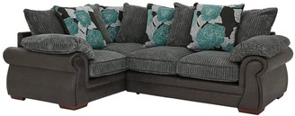 Andorra Fabric and Faux Leather Left Hand Double Arm Scatter Back Corner Group Sofa