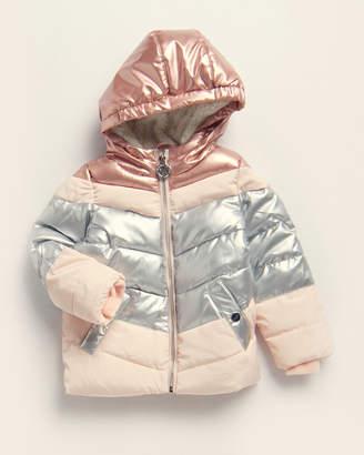 DKNY Toddler Girls) Pink & Silver Chevron Puffer Coat