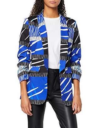 Liquorish Women's Blue Zebra Blazer Jacket,(Size:)