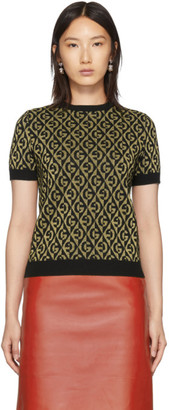 Gucci Black and Gold Lame G Sweater