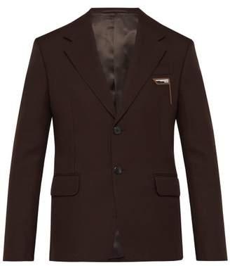 Prada Logo Embossed Single Breasted Twill Blazer - Mens - Dark Brown