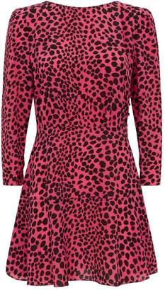 Rixo Kyla Silk Leopard Print Mini Dress
