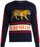 Gucci Walking tiger-appliqué wool sweater
