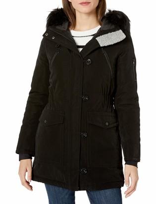 Nautica Women's Parka Jacket with Faux Fur Hood Strip (Removable)