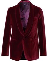 Caruso Burgundy Butterfly Slim-fit Unstructured Velvet Tuxedo Jacket - Burgundy