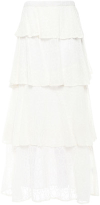 SUNDRESS Adria Tiered Embroidered Georgette Maxi Skirt