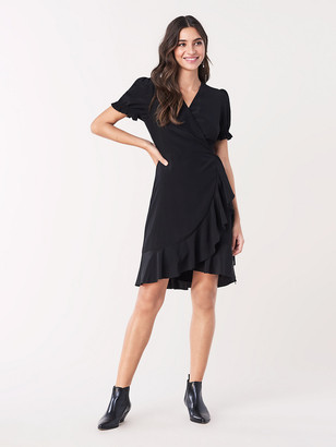 Diane von Furstenberg Emilia Ruffled Silk Crepe de Chine Mini Wrap Dress
