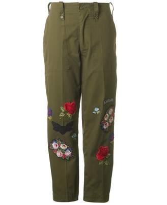 Ragyard Floral Military Trousers Colour: KHAKI, Size: MEDIUM