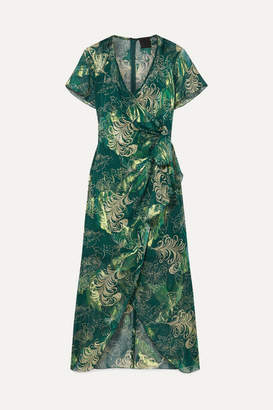 Anna Sui Butterfly Feather Printed Metallic Fil Coupe Silk-blend Chiffon Midi Dress - Dark green