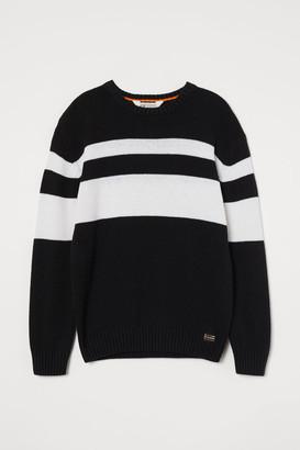 H&M Knit Cotton-blend Sweater - Black