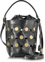 Pierre Hardy Black Leather Penny Bucket Bag w/Golden Studs