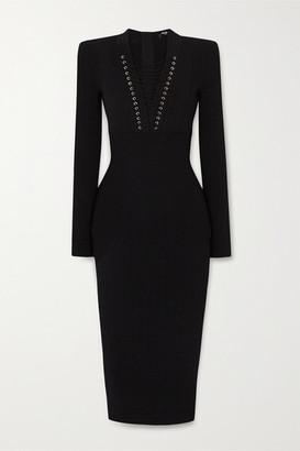 Balmain Lace-up Ribbed-knit Midi Dress - Black