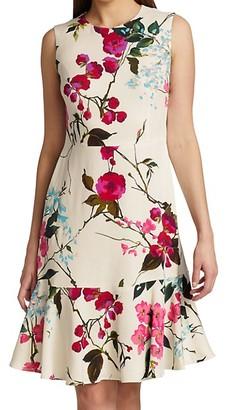 Escada Diora Cherry Blossom-Print Sleeveless Flounce-Hem Dress