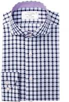 Lorenzo Uomo Long Sleeve Trim Fit Large Check Dress Shirt