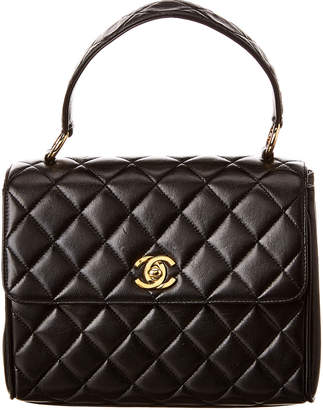 Chanel Black Quilted Lambskin Leather Single Flap Bag