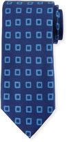 Peter Millar Geometric-Print Silk Tie, Navy