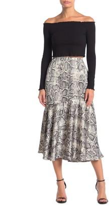 Elodie K Satin Flounced Midi Skirt