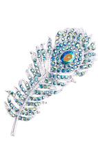 Green Crystal & Silvertone Peacock Feather Brooch