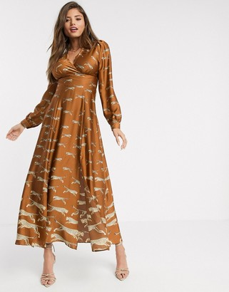 Liquorish wrap front maxi dress in graduated cheetah print