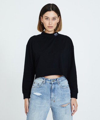 Misfit Republican Long Sleeve Crop T-Shirt Washed Black