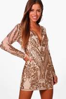 boohoo Petite Danielle Sequin Long Sleeve Bodycon Dress