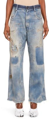Maison Margiela Distressed & Patched High Waist Ankle Boyfriend Jeans