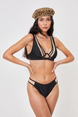 Nasty Gal Womens In the Deep End Mesh High-Leg Bikini Set - Black