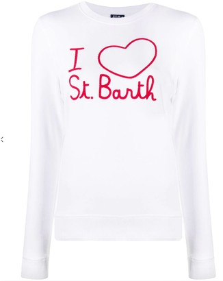 MC2 Saint Barth I Love St. Barth Embroidered Graphic White Sweater