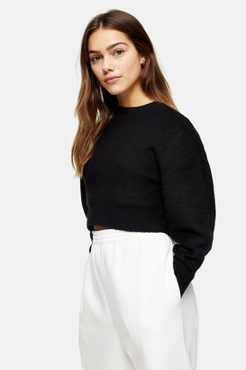 Topshop Womens Petite Black Chevron Cropped Knitted Jumper - Black