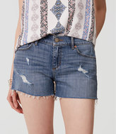 LOFT Petite Cut Off Denim Shorts in Classic Light Indigo Wash