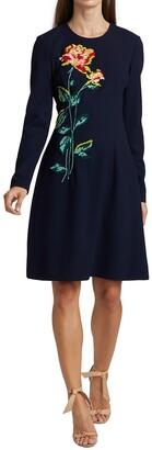 Lela Rose Floral Embroidery Dress