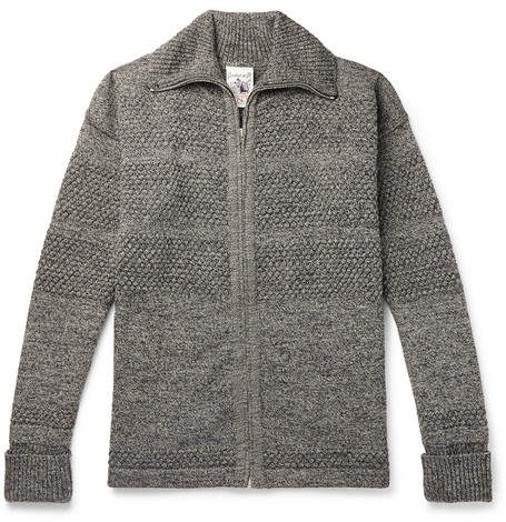 S.N.S. Herning Fisherman Melange Wool Zip-Up Cardigan
