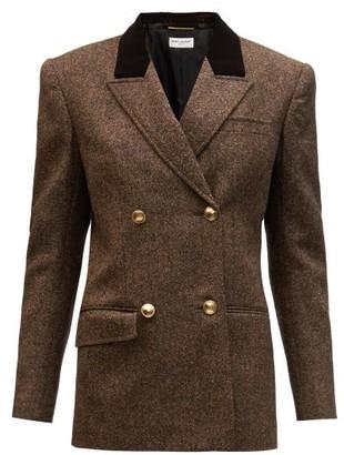 Saint Laurent Double-breasted Velvet-lapel Wool-tweed Jacket - Brown Multi
