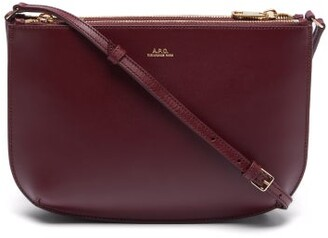A.P.C. Sarah Smooth-leather Cross-body Bag - Burgundy
