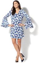 New York & Co. V-Neck Shift Dress - Blue Floral Print