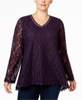 Style&Co. Style & Co. Plus Size Lace Swing Top, Only at Macy's