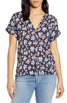 Lucky Brand Floral Woven Mix Button Front Top