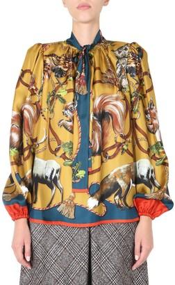 Dolce & Gabbana Pussybow Animal Printed Blouse