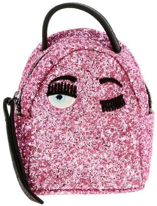 Chiara Ferragni Extra Mini Backpack In Glitter Fabric With Embroidery
