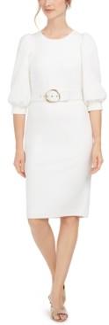 Calvin Klein Balloon-Sleeve Belted Sheath Dress