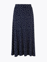Marks and Spencer Jersey Polka Dot Fit & Flare Midi Skirt