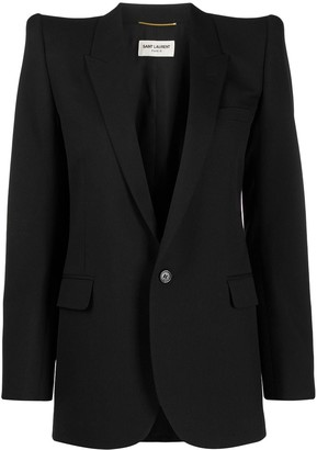 Saint Laurent Exaggerated-Shoulder Blazer