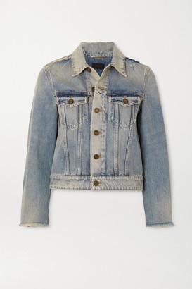 Saint Laurent Cropped Distressed Denim Jacket - Blue