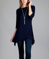 Lily Navy Sidetail Tunic - Plus Too